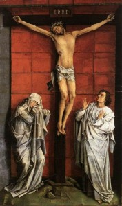 Rogier van der Weyden Christus on the Cross with Mary and St John Crucifixion Escorial